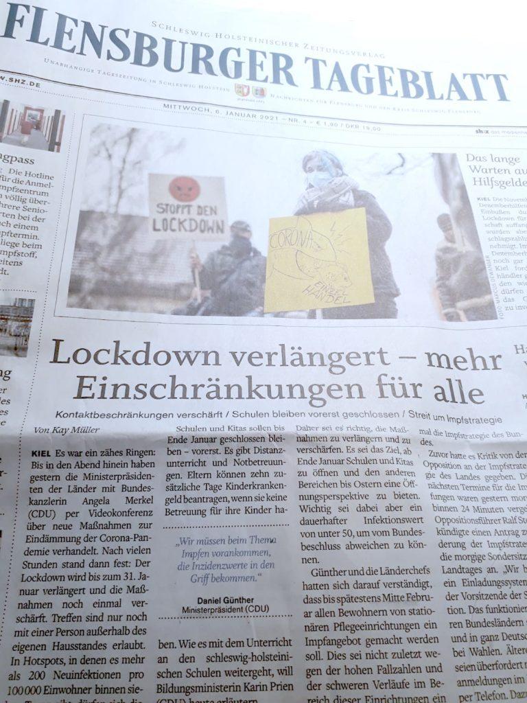 Flensburger Tageblatt Lockdown verlängert